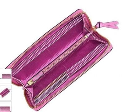 c61dd2255f0a Home   HANDBAGS   Tory Burch Crinkle Zip Metallic Wallet – Pink