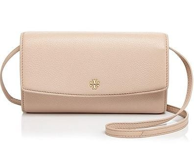 58235b5536a Tory Burch Robinson Pebbled Leather Wallet Crossbody – Shell – The Vault