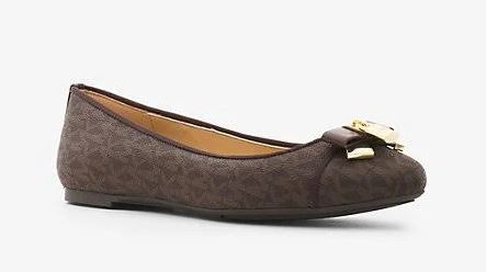 59671572dec77 Michael Kors Signature Alice Ballet Flats USA 7.5 – Dark Brown – The ...
